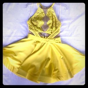 NWT Yellow & Lace Sheer Mini Dress